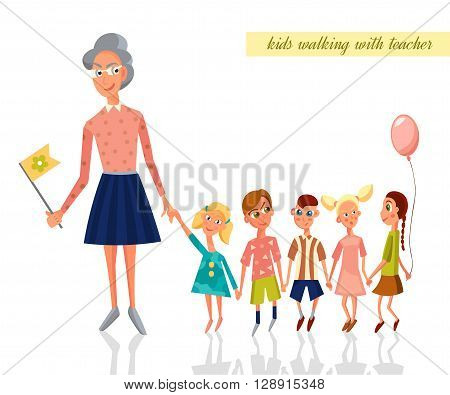 Teacher leading kids for a walk in the kindergarten. Children walking. Vector Character Illustration