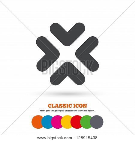 Enlarge or resize icon. Full Screen extend symbol. Classic flat icon. Colored circles.