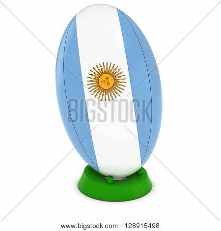 Argentina Rugby - Argentinian Flag On Standing Rugby Ball - 3D Illustration