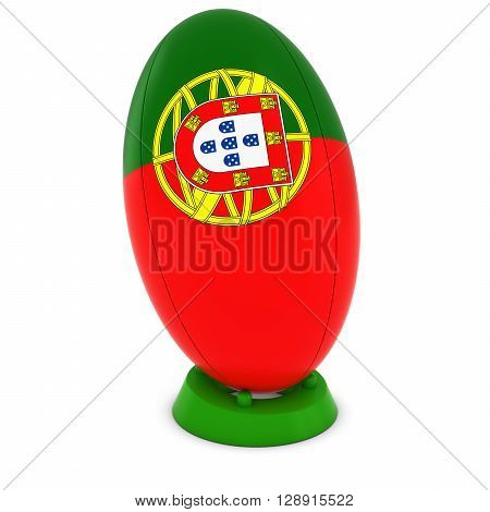 Portugal Rugby - Portuguese Flag On Standing Rugby Ball - 3D Illustration