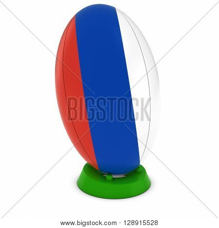 Russia Rugby - Russian Flag On Standing Rugby Ball - 3D Illustration