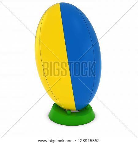 Ukraine Rugby - Ukrainian Flag On Standing Rugby Ball - 3D Illustration