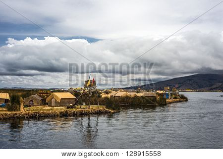 Floating Islands on the Lake Titicaca Puno Peru South America
