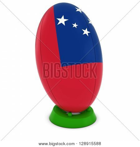 Samoa Rugby - Samoan Flag On Standing Rugby Ball - 3D Illustration