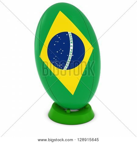 Brazil Rugby - Brazilian Flag On Standing Rugby Ball - 3D Illustration