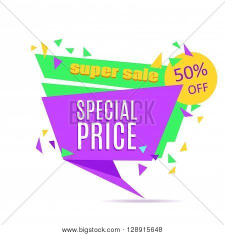 Super Sale and Special Price paper banner. Sale background. Sale tag. Sale poster. Sale vector. Special Offer. Shopping Banner Template. 50% off. Vector illustration.