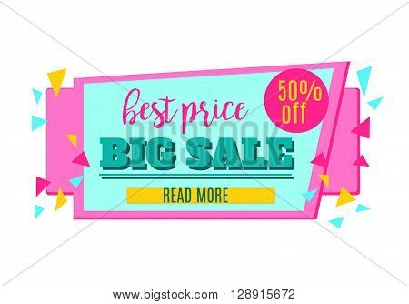 Big Sale and Best Price paper banner. Sale background. Sale tag. Sale poster. Sale vector. Special Offer. Shopping Banner Template. 50% off.
