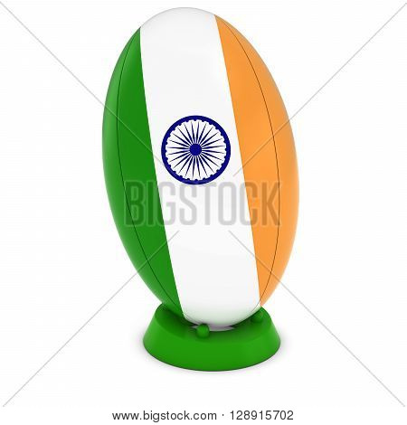 India Rugby - Indian Flag On Standing Rugby Ball - 3D Illustration