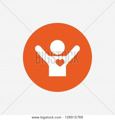 Fans love icon. Man raised hands up sign. Orange circle button with icon. Vector