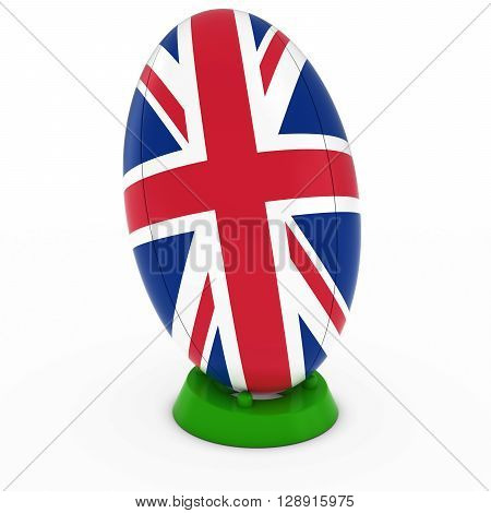 Uk Rugby - Union Jack Flag On Standing Rugby Ball - 3D Illustration