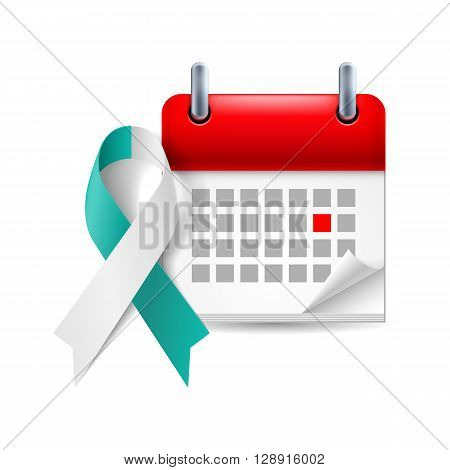 Teal and white awareness ribbon and calendar with marked day. Cervical cancer symbol