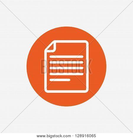 File document icon. Download doc button. Doc file symbol. Orange circle button with icon. Vector