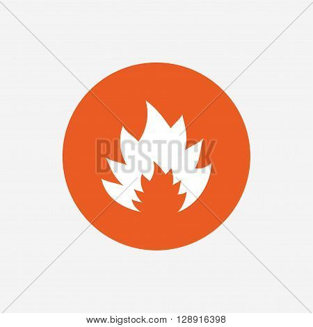 Fire flame sign icon. Heat symbol. Stop fire. Escape from fire. Orange circle button with icon. Vector