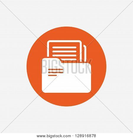 Document folder sign. Accounting binder symbol. Bookkeeping management. Orange circle button with icon. Vector