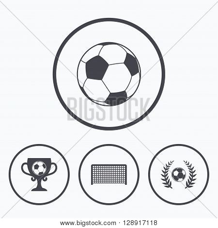 Football icons. Soccer ball sport sign. Goalkeeper gate symbol. Winner award cup and laurel wreath. Icons in circles.