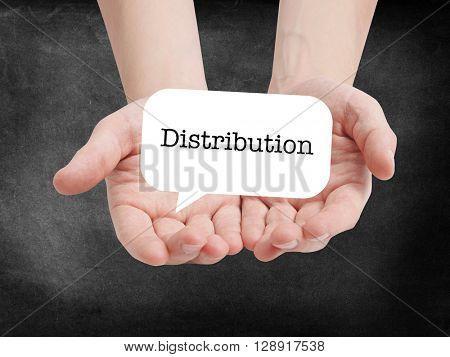 Distribution written on a speechbubble