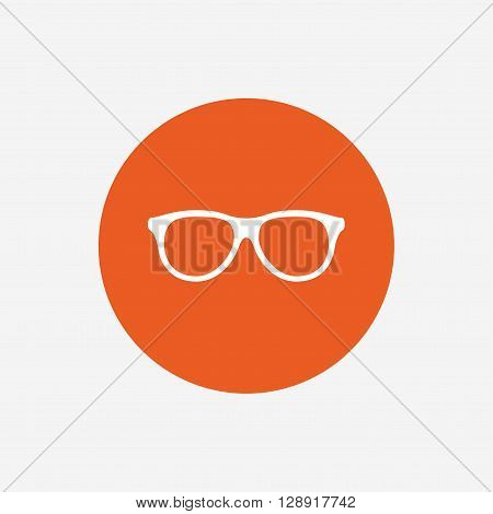 Retro glasses sign icon. Eyeglass frame symbol. Orange circle button with icon. Vector