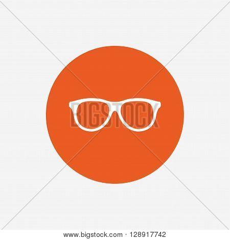 Retro glasses sign icon. Eyeglass frame symbol. Orange circle button with icon. Vector