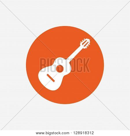 Acoustic guitar sign icon. Music symbol. Orange circle button with icon. Vector