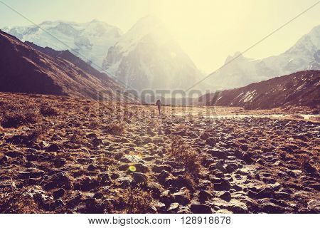 Hiker in Himalayas mountain. Nepal.