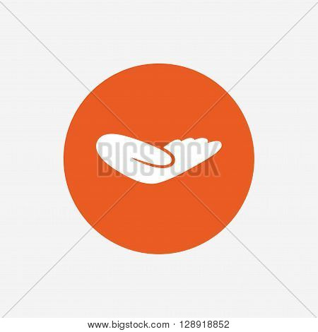 Donation hand sign icon. Charity or endowment symbol. Human helping hand palm. Orange circle button with icon. Vector