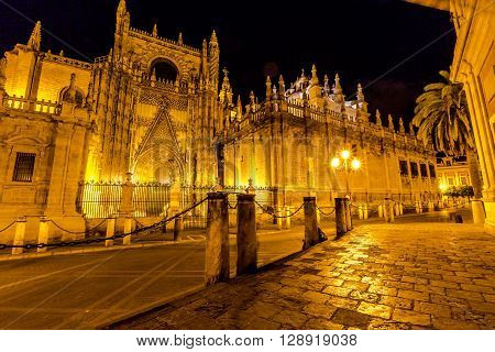 Side view of Cathedral of Seville illuminated  by night, the world's largest Gothic Cathedral and the third religious building to size, Andalucia, Spain.