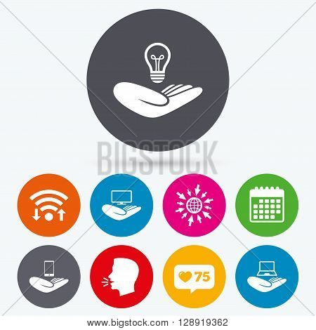 Wifi, like counter and calendar icons. Helping hands icons. Intellectual property insurance symbol. Smartphone, TV monitor and pc notebook sign. Device protection. Human talk, go to web.