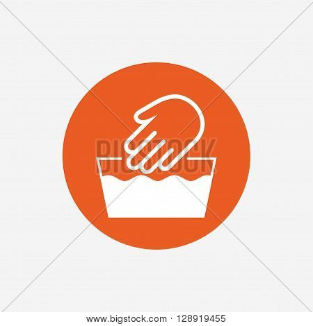 Hand wash sign icon. Not machine washable symbol. Orange circle button with icon. Vector