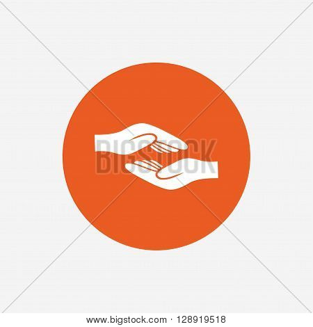 Helping hands sign icon. Charity or endowment symbol. Human palm. Orange circle button with icon. Vector