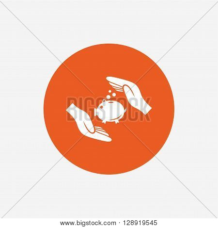 Piggy bank money sign icon. Hands protect moneybox symbol. Money or savings insurance. Orange circle button with icon. Vector