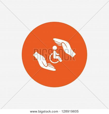 Disabled human insurance sign icon. Hands protect wheelchair man symbol. Health insurance. Orange circle button with icon. Vector