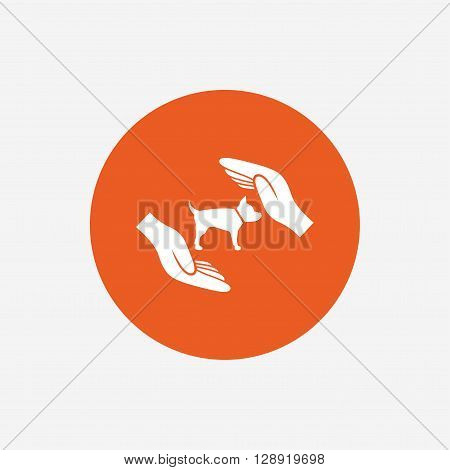 Protection of animals pets sign icon. Hands protect dog symbol. Shelter for dogs. Animals insurance. Orange circle button with icon. Vector