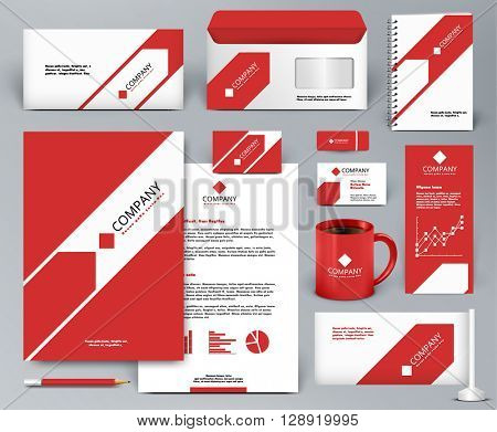 Professional universal red branding design kit with arrow. Corporate identity template. Business stationery mock-up. Editable vector illustration: folder, cup, etc.