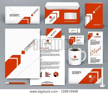 Professional universal red branding design kit with arrow for real estate/investment. Corporate identity template. Business stationery mock-up. Editable vector illustration: folder, cup, etc.