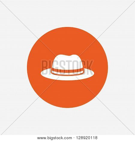 Top hat sign icon. Classic headdress symbol. Orange circle button with icon. Vector