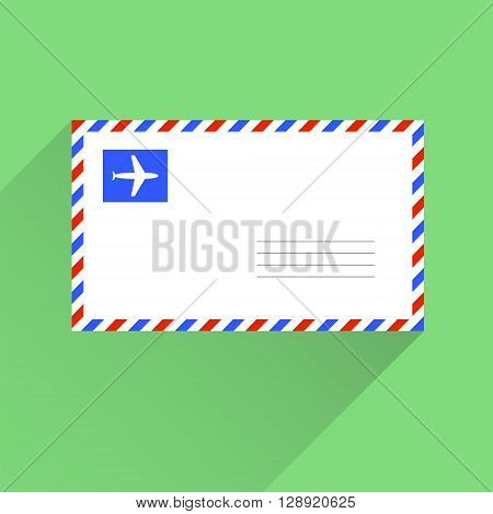 Air mail blank letter envelope flat style vector illustration background