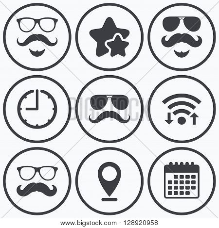 Clock, wifi and stars icons. Mustache and Glasses icons. Hipster with beard symbols. Facial hair signs. Calendar symbol.