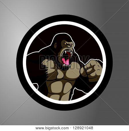 Gorilla Circle sticker .eps10 editable vector illustration design