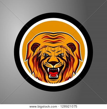 Lion Circle sticker .eps10 editable vector illustration design