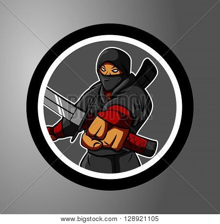 Ninjas Circle sticker .eps10 editable vector illustration design