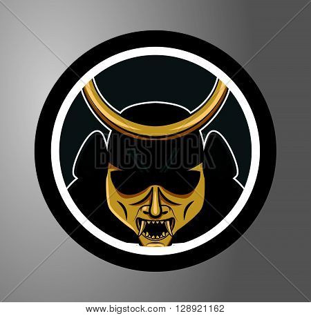 Samurai Circle sticker .eps10 editable vector illustration design