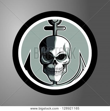 Sailor skull Circle sticker .eps10 editable vector illustration design