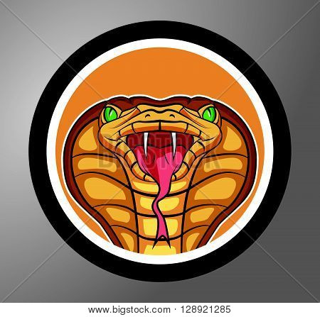 Cobra Circle sticker .eps10 editable vector illustration design