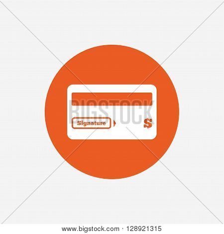 Credit card sign icon. Debit card symbol. Virtual money. Orange circle button with icon. Vector