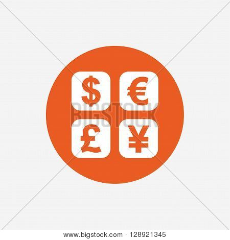 Currency exchange sign icon. Currency converter symbol. Money label. Orange circle button with icon. Vector