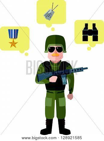 Army flat cartoon illustration .eps10 editable vector illustration design