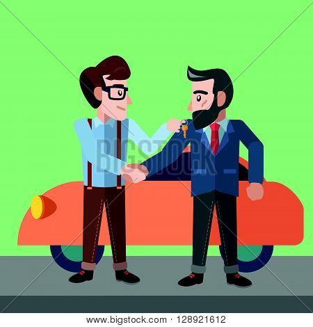 businessman selling car flat color cartoon illustration .eps10 editable vector illustration design