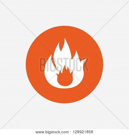 Fire flame sign icon. Fire symbol. Stop fire. Escape from fire. Orange circle button with icon. Vector