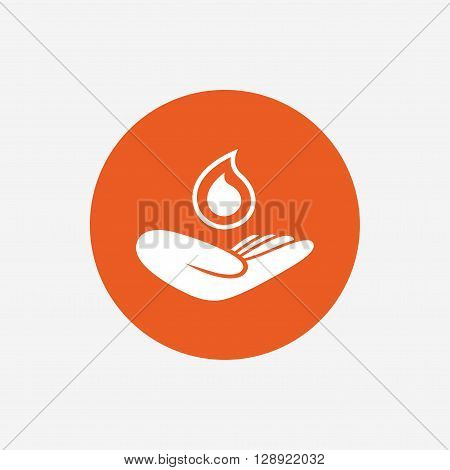 Save water sign icon. Hand holds water drop symbol. Environmental protection symbol. Orange circle button with icon. Vector
