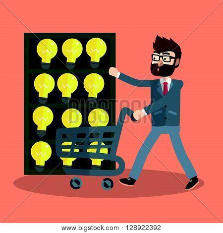 Business man idea stock lamp .eps10 editable vector illustration design